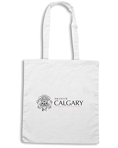 T-Shirtshock - Bolsa para la compra TM0033 City of Calgary citta Blanco