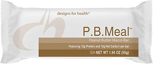Designs for Health - P.B. Meal Bar - Whey + Rice Protein for Sustained Energy, Fructose + Sucrose Free, 12 Bars