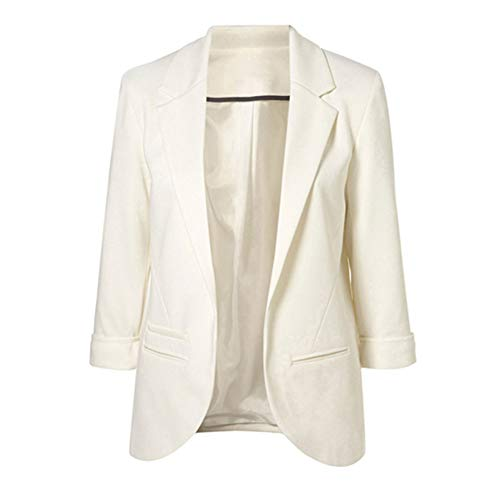 (LAVIQK Women's Fashion Cotton Rolled up 3/4 Sleeve Slim Office No-Buckle Blazer Jacket Suits(White))