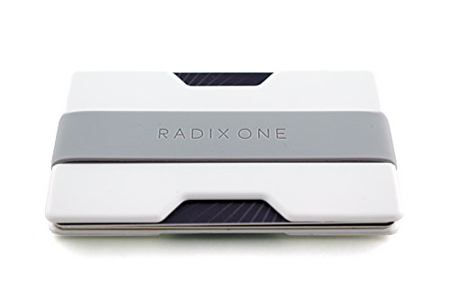 Radix One Slim Wallet (White/Gray) - Minimalist Front Pocket Ultralight Thin Polycarbonate Wallet Money Clip