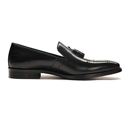 Trabajo on Zapatos Brogues Black Tallados Los Formales Casuales Colgante Tassel Loafer Cuero De Oficina Hombres Vestir Slip wqvUR
