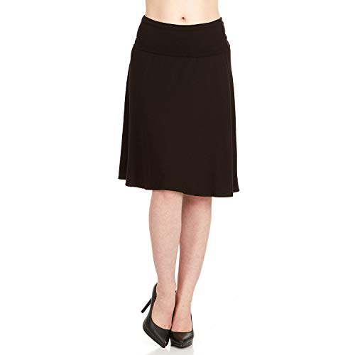 X America Foldover Waist Regular & Plus Size Midi Skirts for Women, Made in USA Black ()