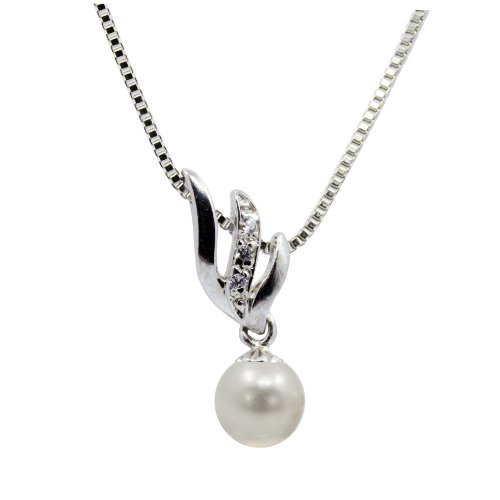 Pearlpro Feather White AAA-grade Akoya Cultured Pearl 7.0-7.5mm Pendant with 925 Sterling Silver necklace, 18