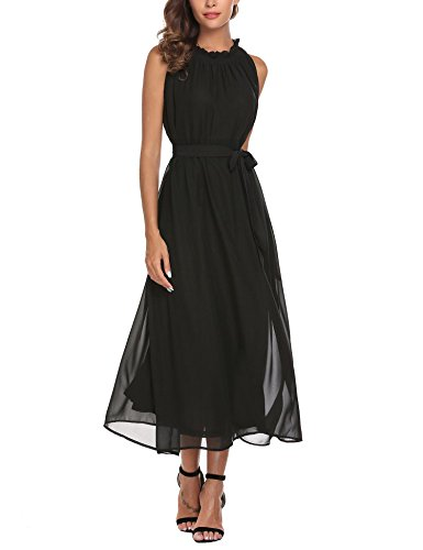 ACEVOG Women's Chiffon Vintage Neck A-line Swing Dress (Black Chiffon A-line)