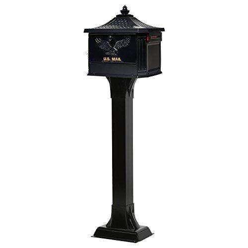 Gibraltar Mailboxes Hamilton Large Capacity Cast Aluminum Black, Post-Mount Mailbox, HM200B00 by Gibraltar Mailboxes (Image #4)