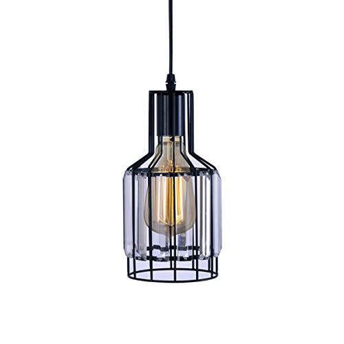 Industrial Pendant Light, Unique Swag Hanging Crystal Lamp Hanging Fixture for Kitchen Island Burnished Bronze Crystal Type
