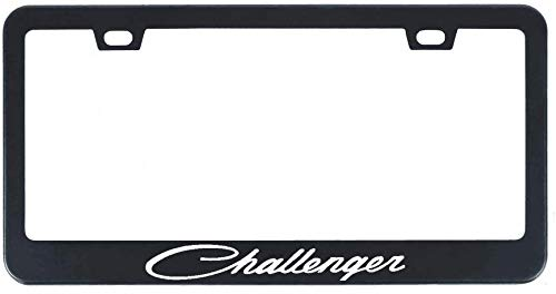 Auggies Challenger Sport SRT RT Black Stainless Steel Black License Plate Frame Cover Holder Rust Free with Caps and Screws 2