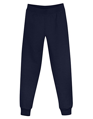 Hanes Girls' Fleece Slim Leg Sweatpants, Navy, S