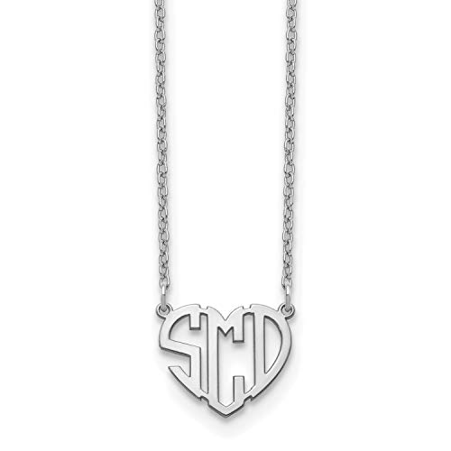 Block Heart Cutout Monogram Necklace - Medium Size Polished Finish (14K White ()