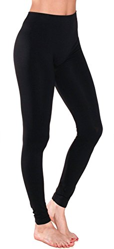 Sofra Women's Full Ankle Length Seamless Leggings Regular Fleece Plus, Black, Plus Size Ankle Length