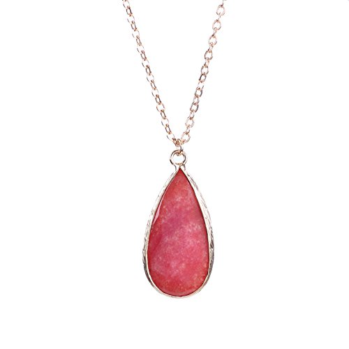 Women's Gold Plated Chain Wrapped Natural Stone Crystal Drop Pendant Necklace (Red)