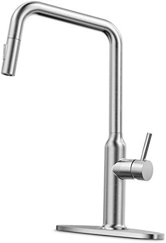 CORYSEL Kitchen Faucet with Pull Down Sprayer and 2 Water Outlet Modes, Single-Handle High Arc Brushed Nickel Single Hole Pull Out Kitchen Sink Faucet with Deck Plate 2083