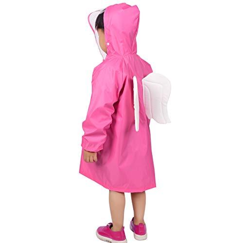 Rainbrace Kids Girls Raincoat Children Cartoon Waterproof Rain Jacket Hooded Poncho Age 6-12 Pink