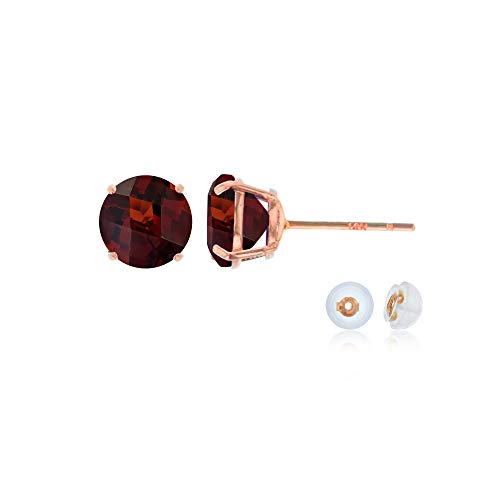 Genuine 14K Solid Rose Gold 6mm Round Natural Red Garnet January Birthstone Stud ()