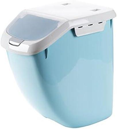 [薩牧徳]米びつ保存容器キッチン用スライド計量カップ付き6kg&10kg&15kg (ブルー, L)