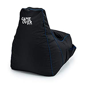 Game Over Chaise Pouf de Jeux Vidéos   Salle de Séjour Intérieure Fauteuil Gamer   Poches Latérales pour Les Manettes   Support de Casque   Conception Ergonomique (Cerulean Blitz)