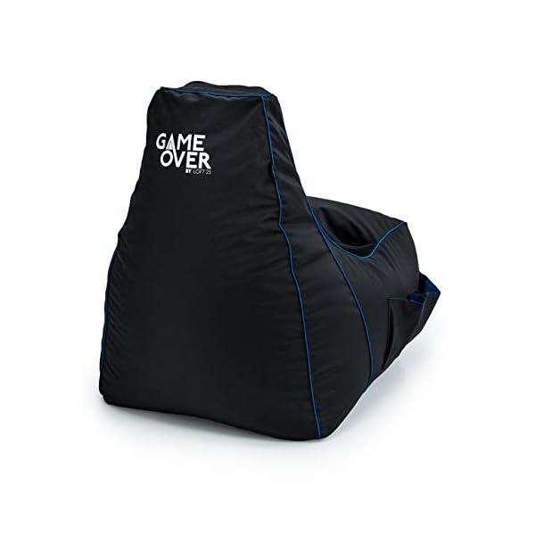 Game Over Chaise Pouf de Jeux Vidéos | Salle de Séjour Intérieure Fauteuil Gamer | Poches Latérales pour Les Manettes | Support de Casque | Conception Ergonomique (Cerulean Blitz)