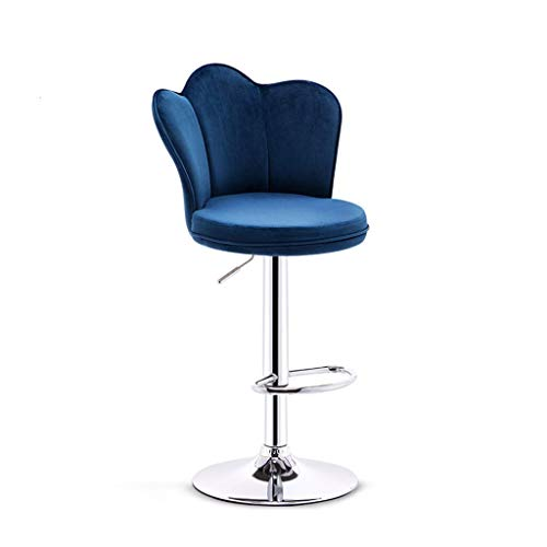 QQXX Bar Stool Hydraulic Lift Petal/Palm Chairs Adjustable Height Bar Stool Tufted Fabric Upholstered Round Back Barstool with Footrest (Color : Blue, Size : One)