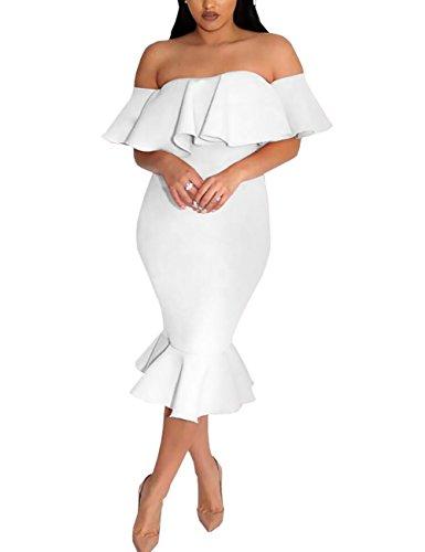Mujer Dress De Tirante Escote Midi Boutiquefeel Hombros Volante 7qZzt