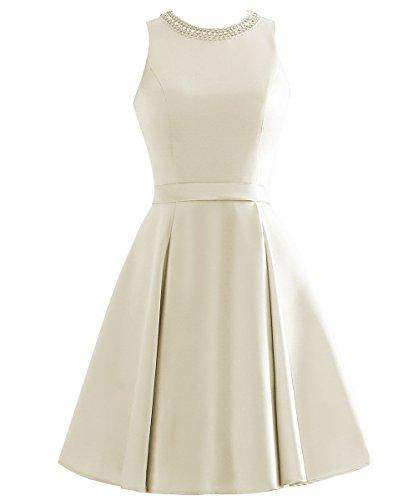 Perlen Damen ärmellos Kurz Champagner Gürtel mit Champagner Elegantes A O Satin Ballkleider Abendkleider Linie Ausschnitt x66qpX4