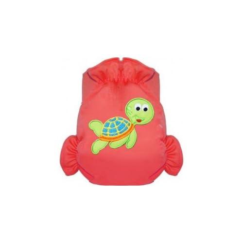 Eliott Et Loup Tortue Maillot de bain couche à Scratch ajustable Enfant 0-3 ans Rouge Taille Unique Séchage Rapide