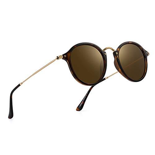 PANNER Retro Polarized Round Sunglasses Small Mirror Circle Lens for Men Women(Tortoise Frame/Brown Glass Lens)