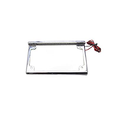 Universal Chrome License Plate Bracket Frame with LED Lights for Motorcycles & Scooters: Automotive