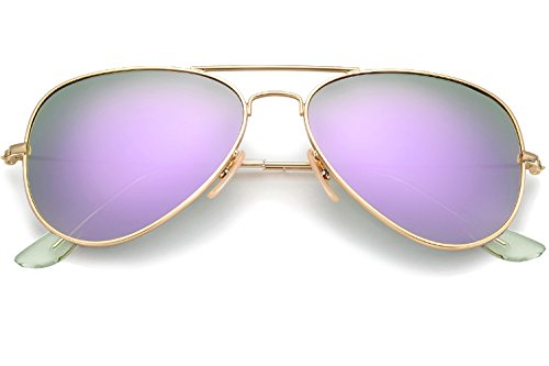 YuFalling Polarized Aviator Kids Sunglasses for Girls and Boys Age 5-12 (gold frame/lilac purple lens, 52) -