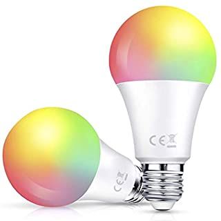 Smart WiFi Light Bulb 2 Pack, A19 LED Dimmable Multicolored RGB + W, E26 Base Type, 85W Equivalent (10W), Work with Alexa & Google Assistant, No Hub Required