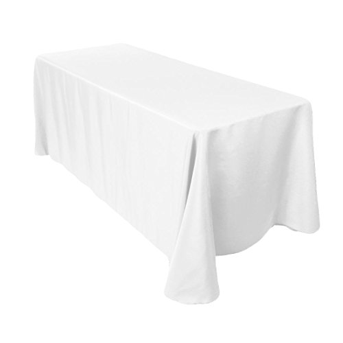 LinenTablecloth 90 x 132-Inch Rectangular Polyester Tablecloth with Rounded Corners, White