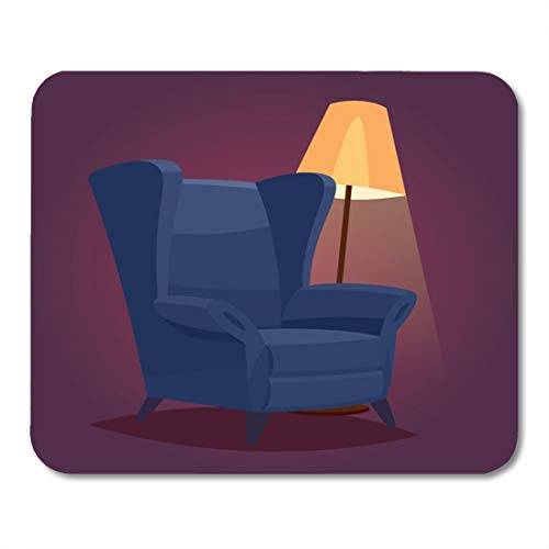 artoon Red Armchair Vintage Cozy Chair in Dark Room with Floor Lamp White Arm Interior Mouse Pad for notebooks,Desktop Computers mats 9.5