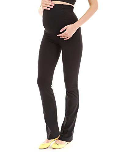 PattyBoutik Mama Maternity Straight Pants (Black Small Tall)