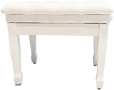 ピアノ椅子 1人用ソリッドウッド肥厚ソフトピアノ椅子防水調節ピアノスツール古筝エレクトリックピアノベンチ (色 : 白, サイズ : 60x40x58cm)