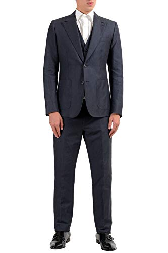 Dolce & Gabbana Men's Linen Striped Two Button Three Piece Suit US 38 IT 48 ()