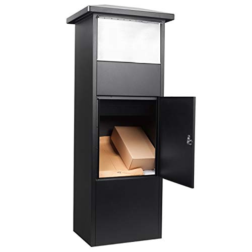 Winbest Steel Freestanding Floor Lockable Large Drop Slot Mail Box with Parcel Compartment, Black