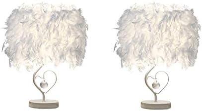Lot de 2 Luminaire Plume, Lampe de Chevet, Lampe de Table Moderne en Forme de Coeur en Cristal, Chambre Décoration de Maison, E27, Avec Ampoule