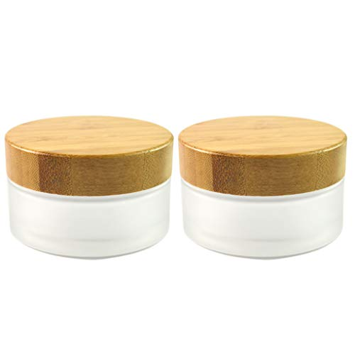 Frosted Glass Cream Jars,2 Pack 100ml/3.4oz,Natural Bamboo lids Empty Refillable Cosmetic Container Bottles Glass Cosmetic Sample Jars with lids for Face Cream Make Up Eye Shadow Travel