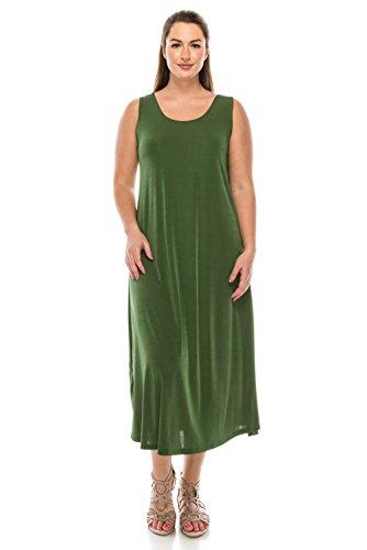 Olive Tank Jostar Stretchy Long Women's Dress nqqzX