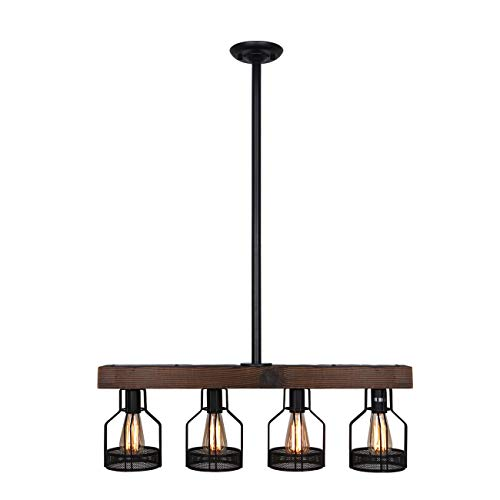 Unitary Brand Vintage Black Metal and Wood Body Cage Shade Kitchen Island Lighting with 4 E26 Bulb Sockets 240W Painted Finish