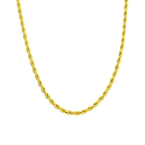 Rope Chain-Gold Chain Necklace 24K Gold Overlay , 30x Thicker than plated, Tarnish Resistant 5 MM All Sizes Gold pendant necklace, Men & Women Rope chain, Lobster Clasp, Look of Solid Gold 18