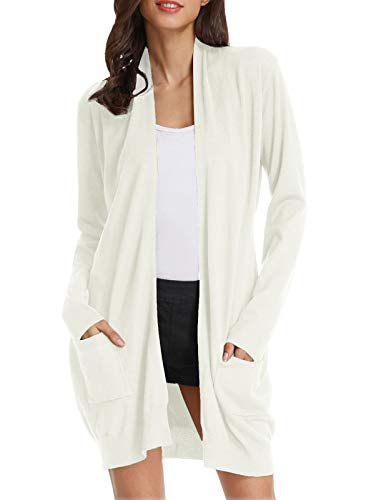Long Knit Cardigan Sweater - Women Classic Open Front Soft Drape Long Cardigan with Pockets (2XL,Ivory)