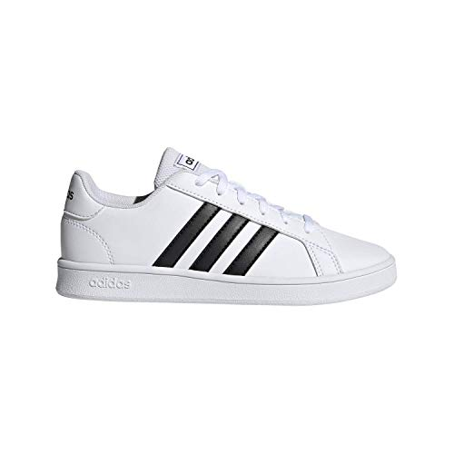 adidas Unisex-Kid's Grand Court K Sneaker, White/Black/Pure White, 2.5 M US Little Kid