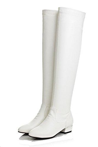 AllhqFashion Mujer Sintético Sólido Caña Alta Puntera Redonda Botas Blanco-Pu