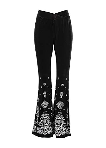 (Glam and Gloria Womens Black Velvet Flared Bell Bottom Pants with Silver Boho Design - Size Small)