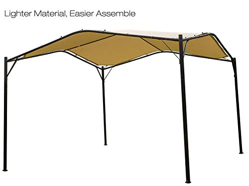Gazebo Iron (Mefo garden 12 x 12 ft Outdoor Patio Swan Gazebo for Backyard, Iron, Polyester Canopy, Beige)