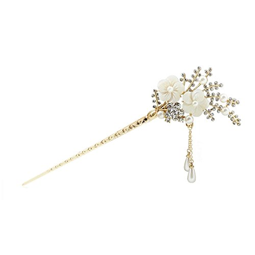 Happy Hours - Crystal Rhinestone Bead Hair Clasp For Women and Teen Girl / Natural Shell Alloy Flower Design Hair Pins Stick With Dangle Tassel Pendant(Style 1)