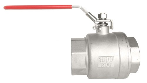 """1/2"""" All 304 S.S. Ball Valve - Full Port, 1000 WOG / Red Handle"""