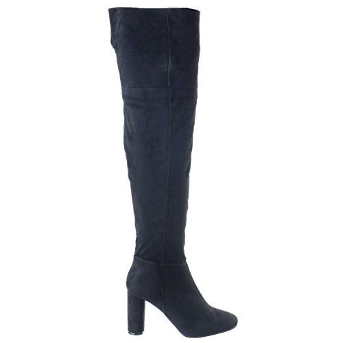 mujer NUEVO Sobre Rodilla Por Encima De La Rodilla Medio Bloque OVALADO Tacón Cremallera Botas Zapatos Varios Números Negro Ante Artificial