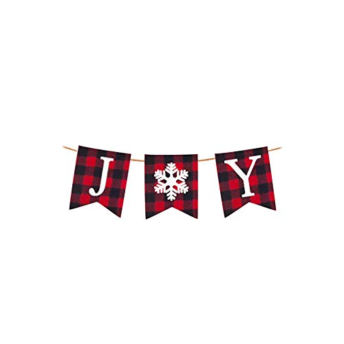 (Rainlemon Joy Banner Christmas Plaid Snowflake Bunting Garland Mantle Fireplace Decoration)