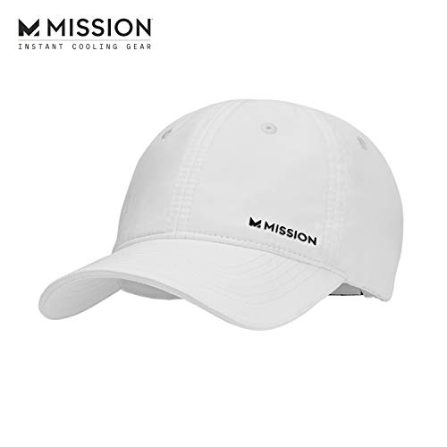 MISSION Cooling Performance Hat- Unisex Baseball Cap, Cools When Wet- White